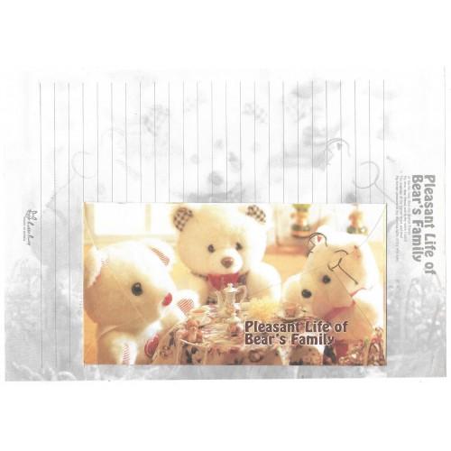 Conjunto de Papel de Carta Importado Bear's Family 2 Litte Fancy