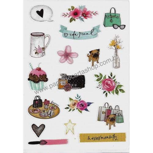 Coleção de Papéis de Carta com Envelopes IT GIRLS FLOWERS