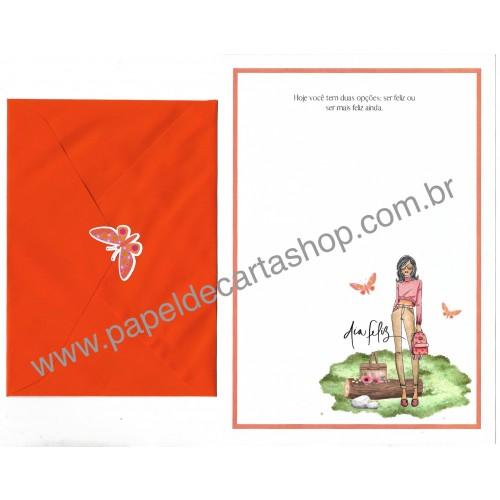 Conjunto de Papel de Carta com Envelope IT GIRLS FRASES - VICKY