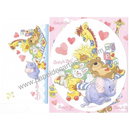 Ano 2010. Conjunto de Papel de Carta IMPORTADO Suzy's Zoo CRD