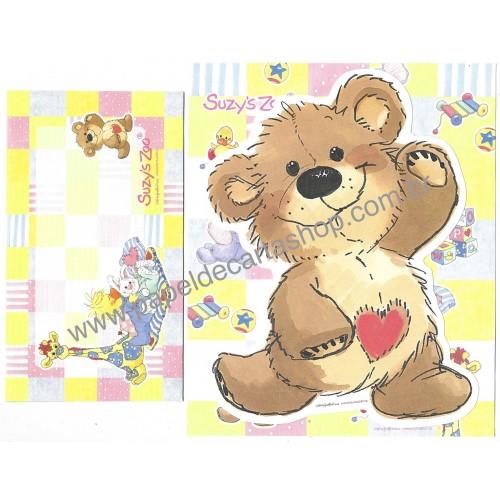 Ano 2008. Conjunto de Papel de Carta IMPORTADO Suzy's Zoo CAM