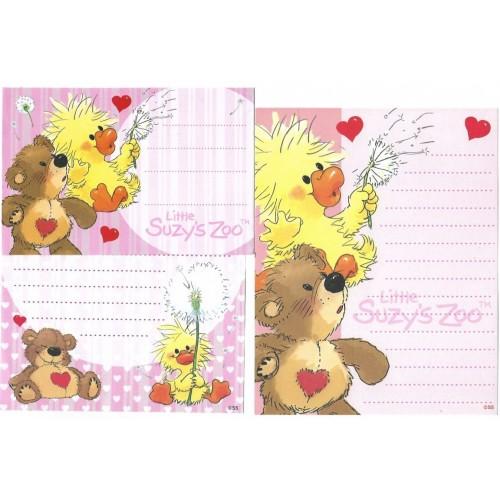 Ano 2010. Conjunto Papel de Carta IMPORTADO Suzy's Zoo 1