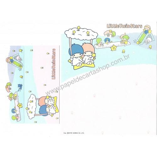 Ano 1976. Conjunto de Papel de Carta Little Twin Stars Color Pencil Sanrio Japan