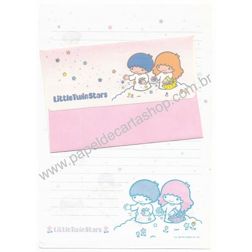 Ano 1976. Conjunto de Papel de Carta Little Twin Stars 1st Sanrio
