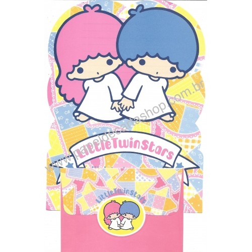 Ano 1976 Conjunto de Papel de Carta Little Twin Stars Patchwork Sanrio