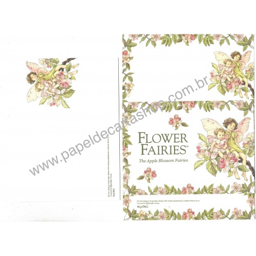 Conjunto de Papel de Carta Importado Flower Fairies The Apple Blossom