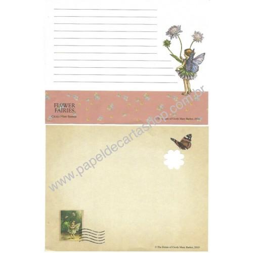 Conjunto de Papel de Carta Importado Flower Fairies The Estatue of Cicely