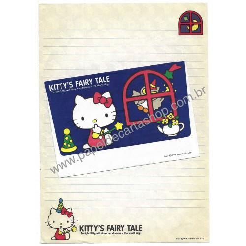 Ano 1976. Conjunto de Papel de Carta Hello Kitty Fairy Tale Vintage Sanrio