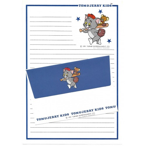 Ano 1991. Conjunto de Papel de Carta Importado Tom and Jerry Kids CAZ