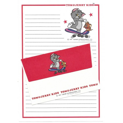 Ano 1991. Conjunto de Papel de Carta Importado Tom and Jerry Kids CVM