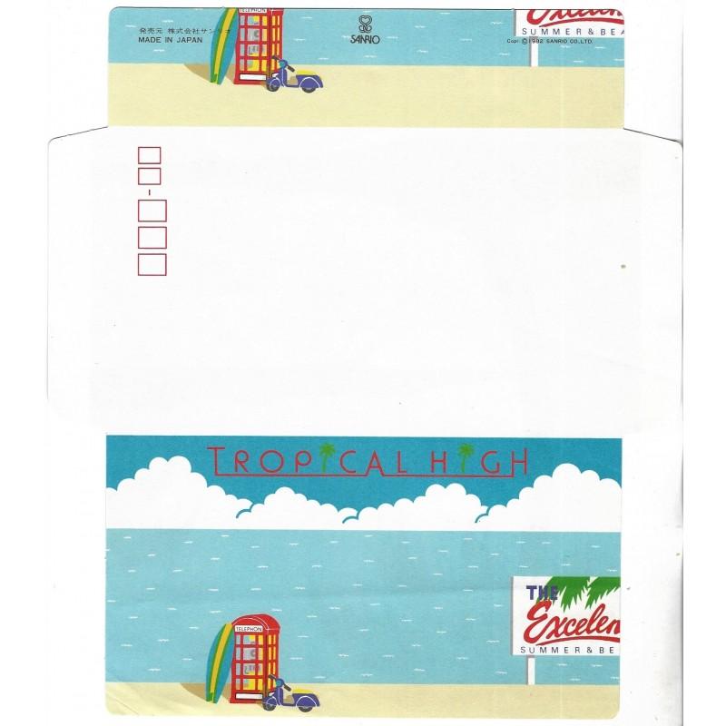 Ano 1982. Papel de Carta-Envelope Tropical High Vintage Sanrio