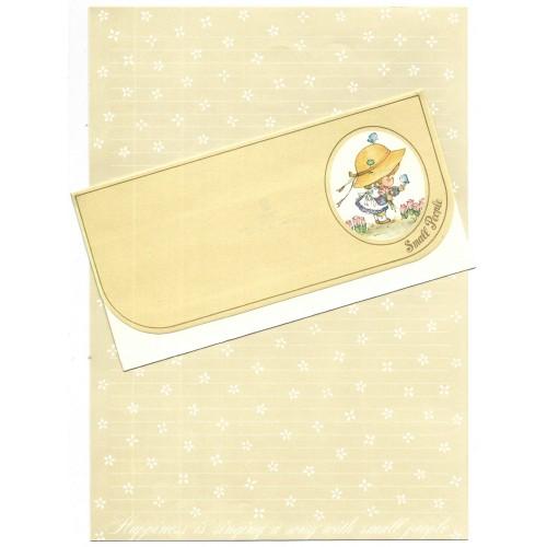 Ano 1976. Conjunto de Papel de Carta Small People CMA Vintage Sanrio
