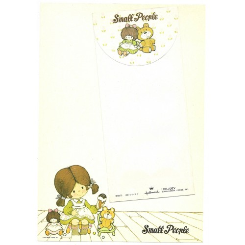 Ano 1976. Conjunto de Papel de Carta Small People M Hallmark-Sanrio