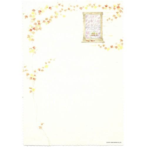Ano 1986. Conjunto de Papel de Carta Antigo Vintage Floral Poem Sanrio