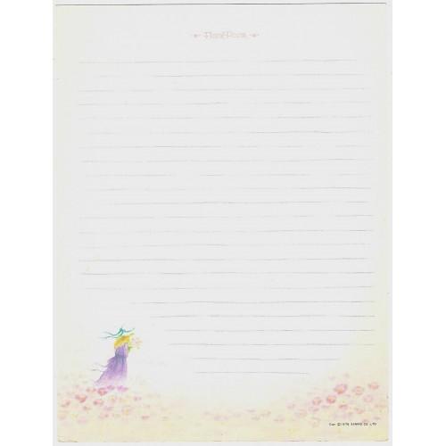Ano 1976. Papel de Carta AVULSO Vintage Floral Poem Lady Sanrio