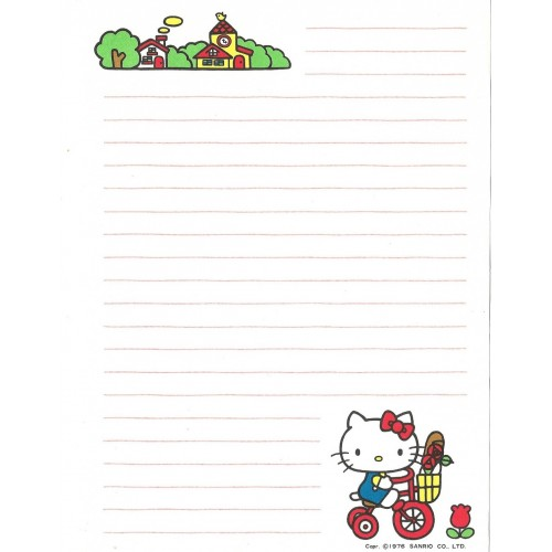 Ano 1976. Papel de Carta Hello Kitty Antigo (Vintage) Go Shopping Sanrio