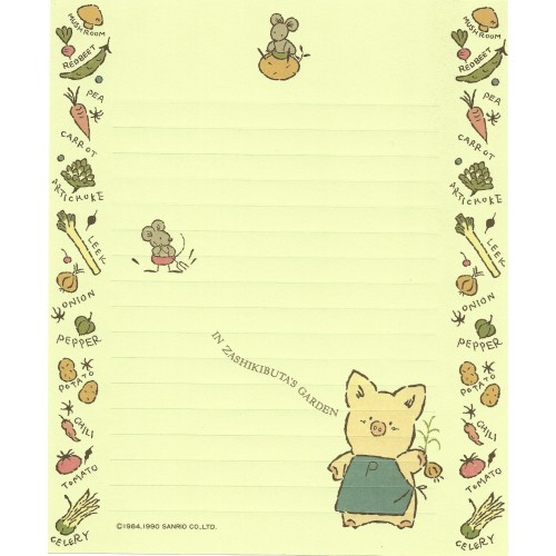 Ano 1990. Papel de Carta AVULSO Zashikibuta CVD Vintage Sanrio