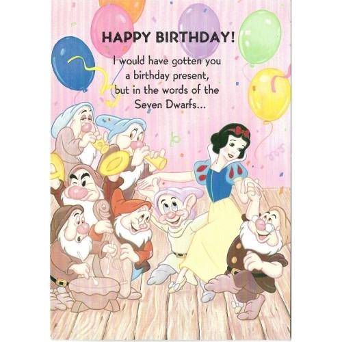 Cartão Antigo Vintage Importado Disney Snow White & The 7 Dwarfs Gibson