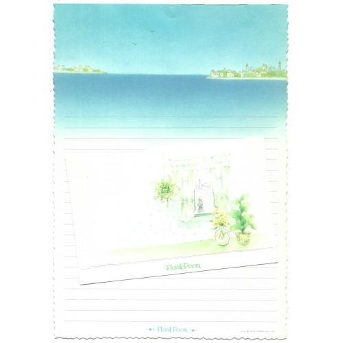 Ano 1976. Conjunto de Papel de Carta Vintage Floral Poem CAZ Sanrio