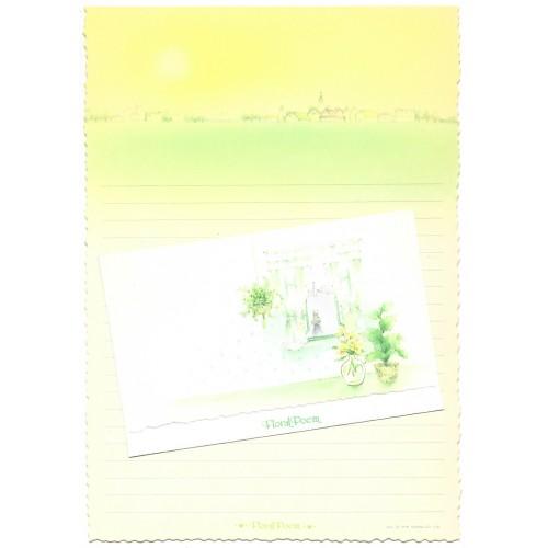 Ano 1976. Conjunto de Papel de Carta Vintage Floral Poem CAM Sanrio