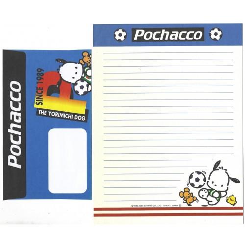 Ano 1995. Conjunto de Papel de Carta Pochacco FOOTBAL CAZ Sanrio