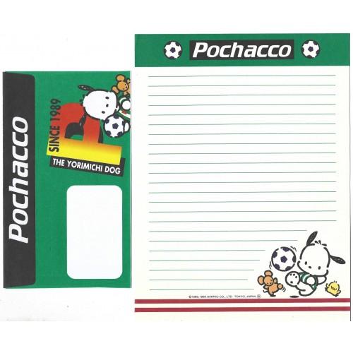 Ano 1995. Conjunto de Papel de Carta Pochacco FOOTBAL CVD Sanrio