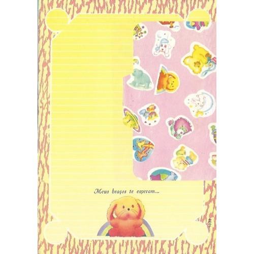 1032. Conjunto de Papel de Carta Coleção Cristina Baby Zoo