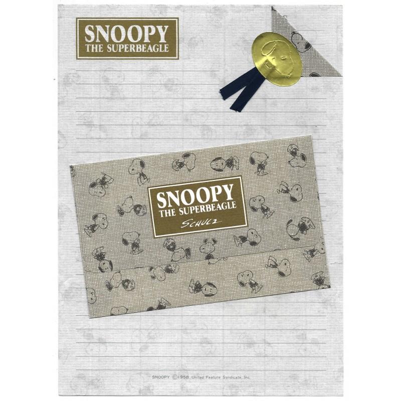 Conjunto de Papel de Carta Snoopy PS GOLD Vintage Hallmark Japan
