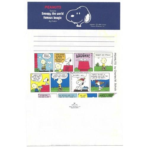 Conjunto de Papel de Carta Snoopy Comic Stripe Vintage Hallmark