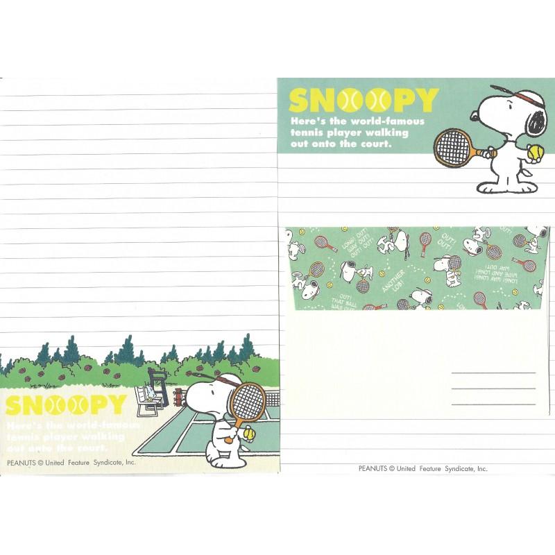 Conjunto de Papel de Carta Snoopy Tennis Player Vintage Hallmark