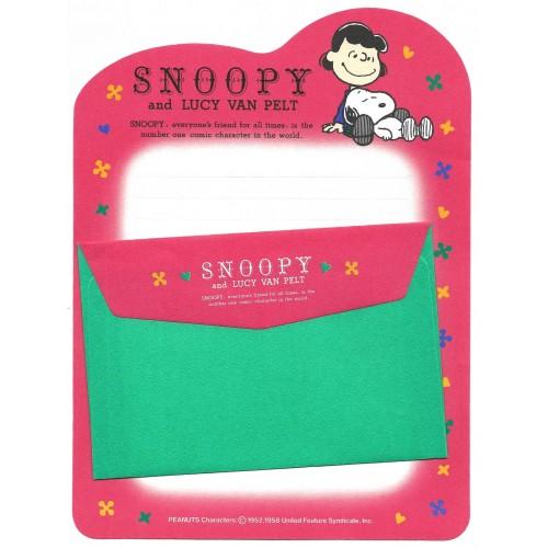 Conjunto de Papel de Carta Snoopy & Lucy Van Pelt Vintage Hallmark