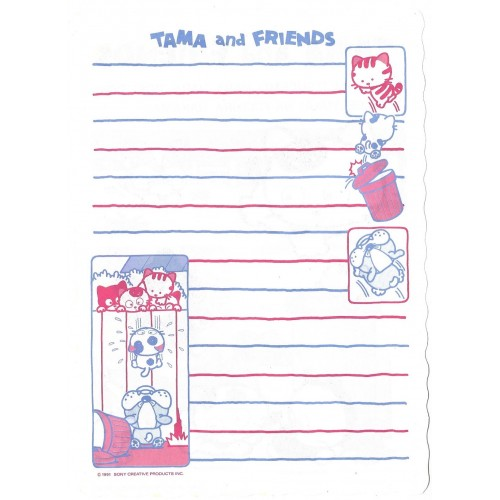 Ano 1991. Papel de Carta AVULSO Antigo (Vintage) Tama & Friends P - Sony