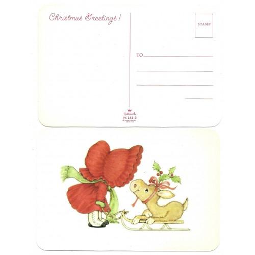 Postcard Antigo Importado Ruth Morehead Sun Bonnets RED Hallmark