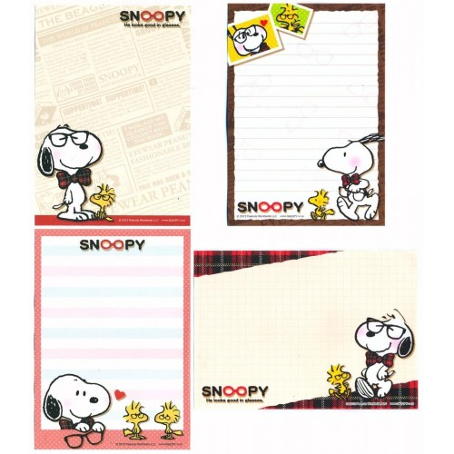 Ano 2012. Kit 4 Notas SNOOPY in Glasses