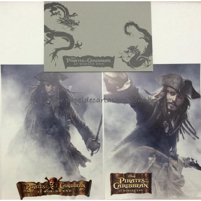 Conjunto de Papéis de Carta Disney Piratas do Caribe