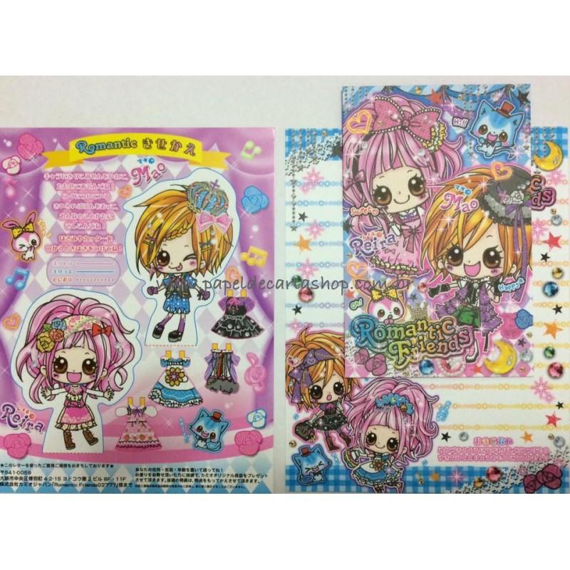 Conjunto de Papel de Carta Romantic Friends ADE - Kamio Japan