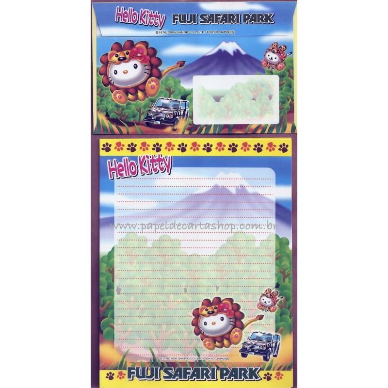 Ano 2005. Conjunto de Papel de Carta Gotōchi Kitty Fuji Safari Park Sanrio