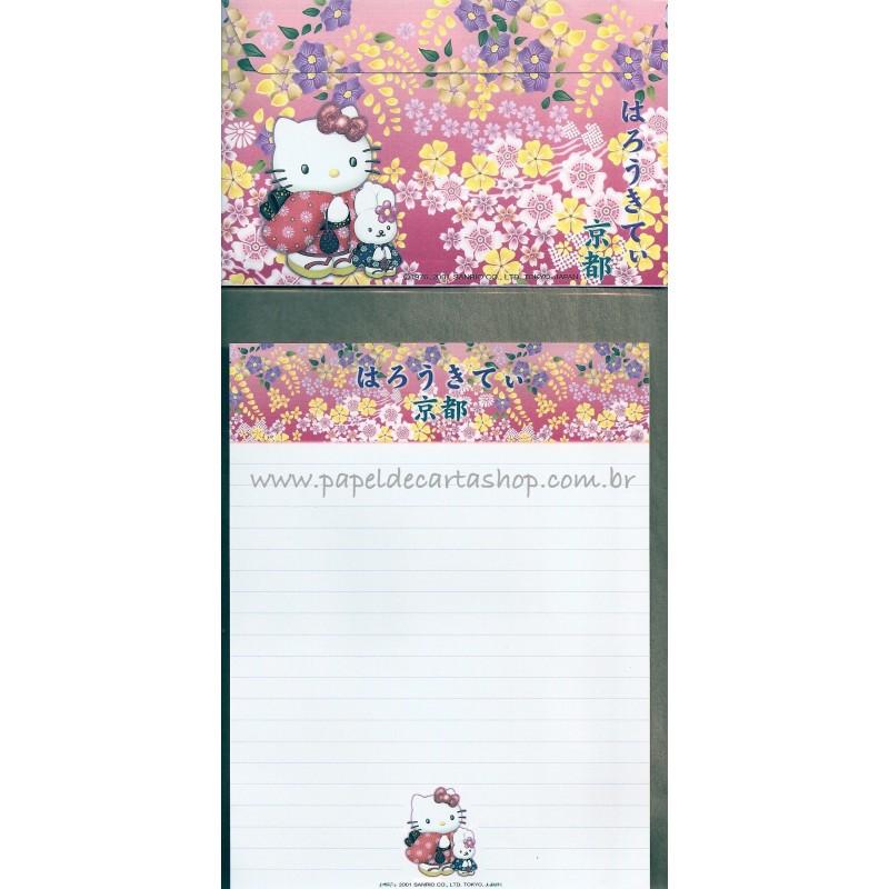 Ano 2001. Conjunto de Papel de Carta Gotōchi Kitty Regional 66 Sanrio