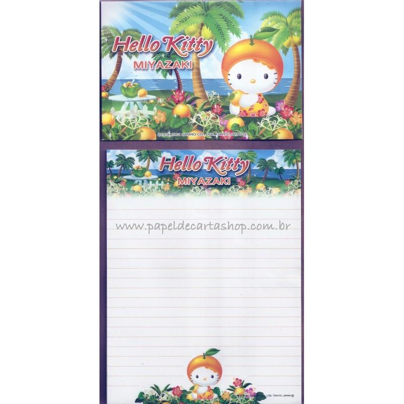 Ano 2001. Conjunto de Papel de Carta Hello Kitty Miyazaki Sanrio